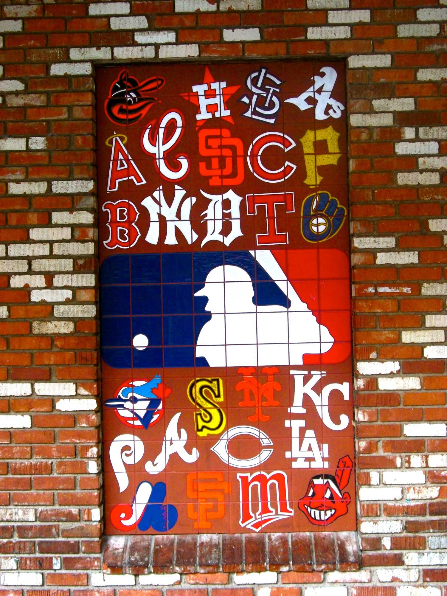 Wall of MLB logos in Las Vegas