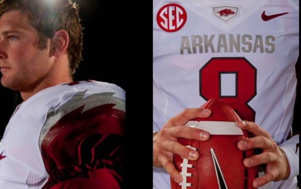 New Arkansas Uniforms jerseys razorbacks ncaa football shoulder stripe