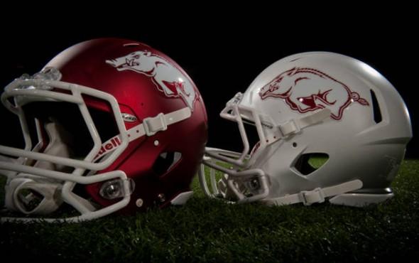 New Arkansas Uniforms jerseys razorbacks ncaa football helmets white