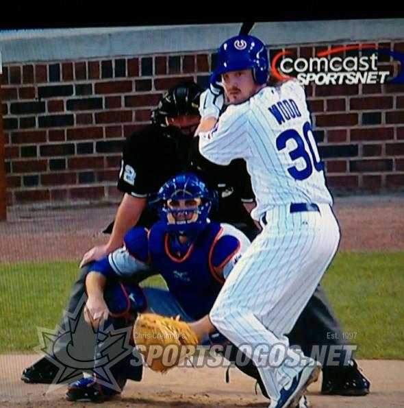 Travis Wood Cubs batting helmet sticker up-side-down