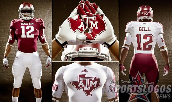 Texas A&M Aggies new jerseys uniform Adidas display