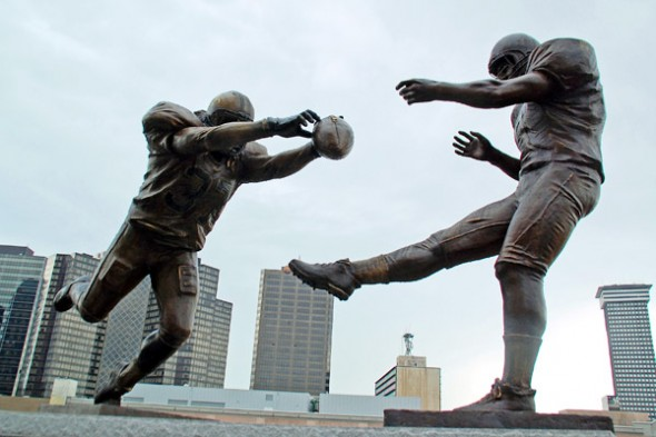 Saints vs Falcons stadium statue situation gleason blank