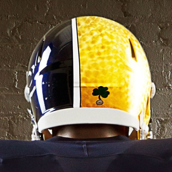 Notre Dame Shamrock Series new uniforms helmet rear
