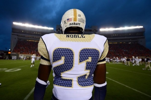 Georgia Tech new uniforms ugly honeycomb white chickenwire helmet awful back