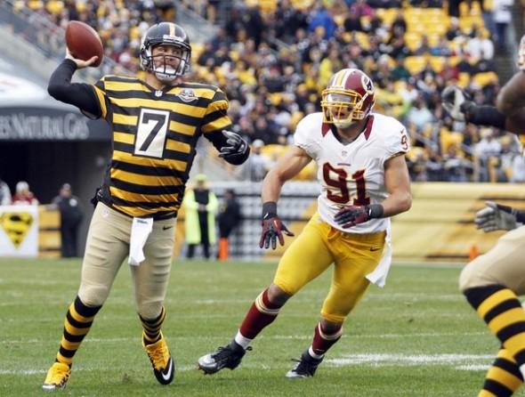 Washington Redskins throwback panthers sunday November retro leather helmets - steelers bumblebee