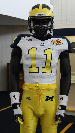 Michigan Wolverines special uniform outback bowl 2012 matte flat - front