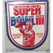 Superbowl iii 3 logo patch
