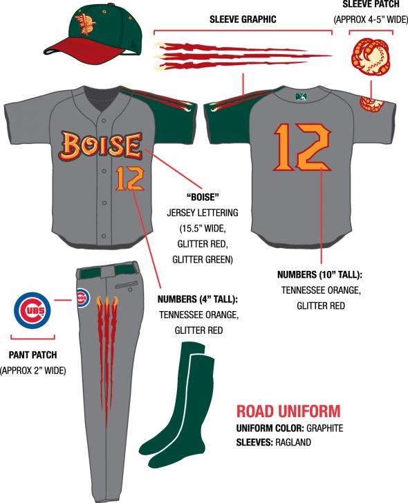 alt Design sheet - Boise Hawks Northwest League uniforms brandiose