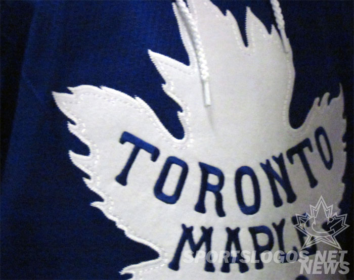 Detailed look at the felt crest on the actual white (not heritage white) Leafs logo.  (Photo: Clark Rasmussen/SportsLogos.Net)