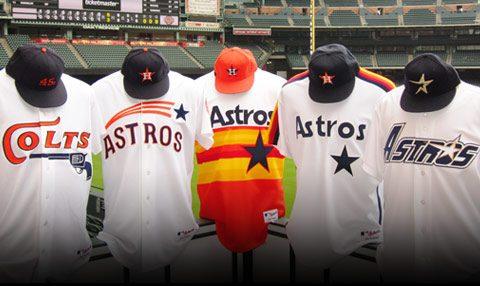 Houston Astros uniforms of yesteryear (1962-1999)