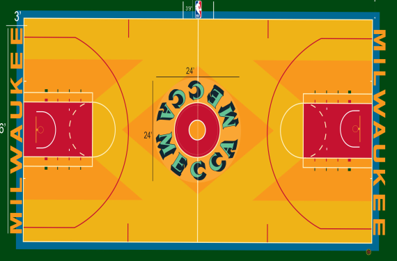 Milwaukee Bucks will play on classic MECCA court design