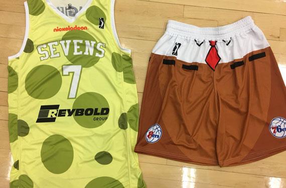 Sixers G-League team sports Spongebob uniforms