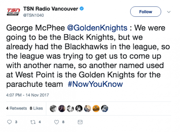 This above tweet is referenced in Army's notice of opposition against the Vegas Golden Knights