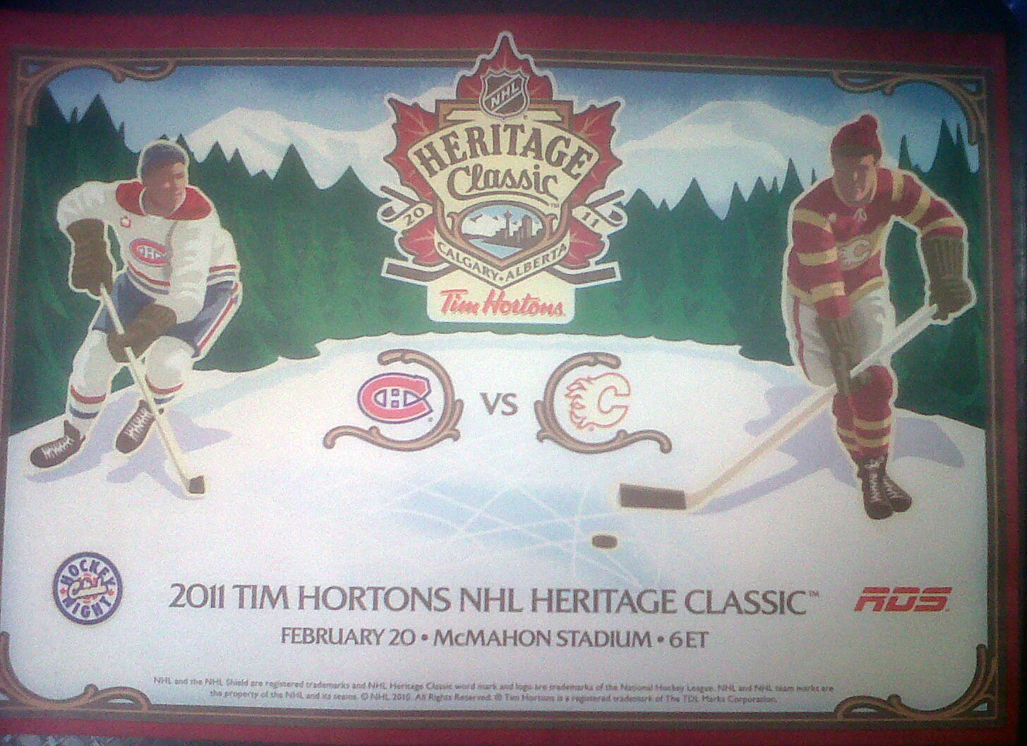 Tim Hortons Placemat - 2011 Heritage Classic