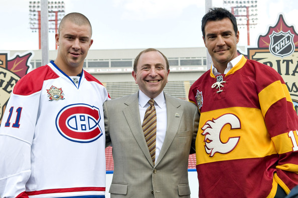 Gary Bettman with Flames and Canadiens jerseys for 2011 Heritage Classic
