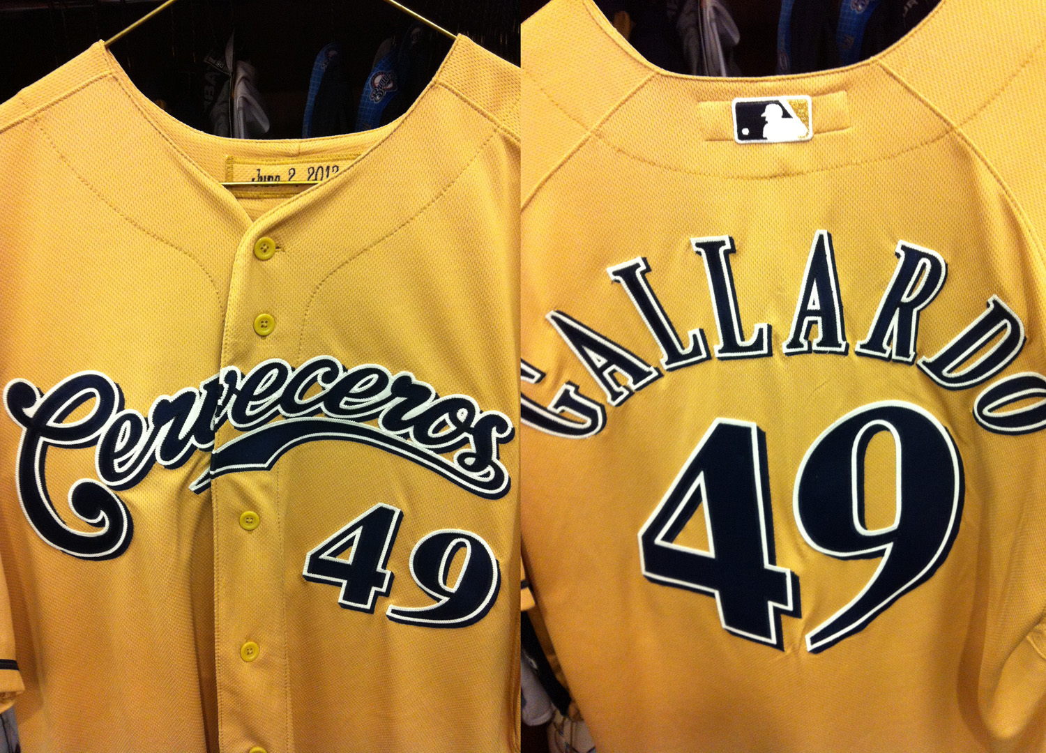 2c0183a575a Milwaukee Brewers Spanish Jerseys Cerveceros 2012