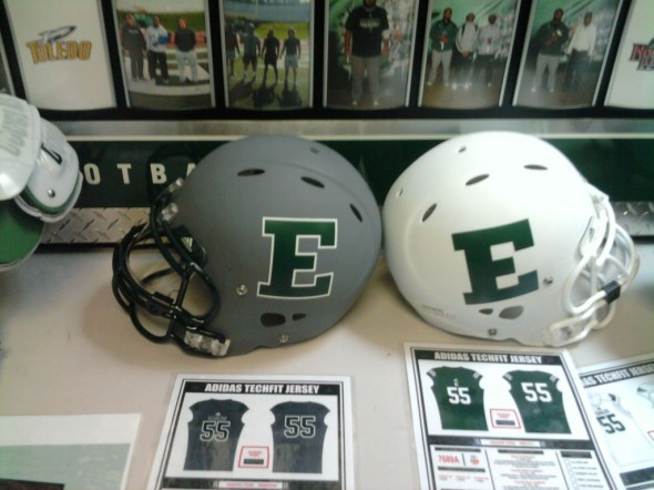 EMU Eastern Michigan Eagles NCAA Football New Uniforms - photograph helmets