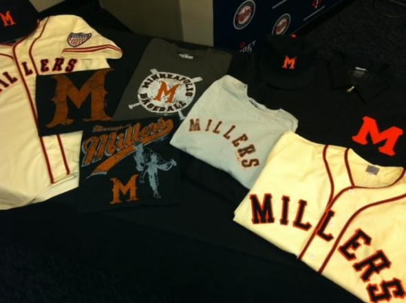 Minnesota Twin wear Minneapolis Millers Uniforms Throwback
