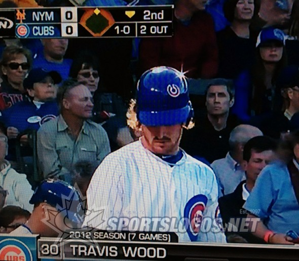 Travis Wood Cubs batting helmet sticker up-side-down