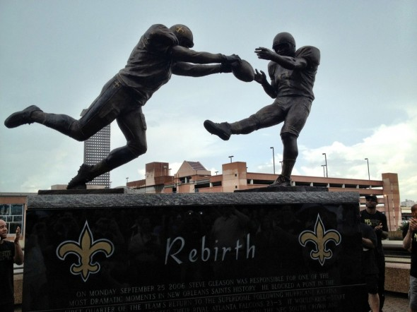 Saints vs Falcons stadium statue situation gleason rebirth