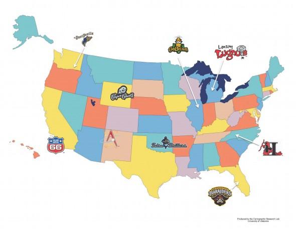A minor league logo tour of the U.S.A   Chris Creamer's ... on 2014 mlb teams map, cincinnati reds map, mlb fan map, american baseball teams map, favorite baseball team map, midwest league baseball map, florida state league teams map, nba teams map, professional baseball teams map, mlb baseball teams map, college lacrosse teams map, mlb teams by map, all mlb teams map, california league teams map, major league football teams, college baseball teams map, major league lacrosse teams, nfl teams map, eastern league teams map, baseball park map,