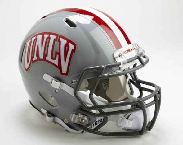 UNLV Rebels NCAA Football new helmets - new helmet 2012 white with red outline