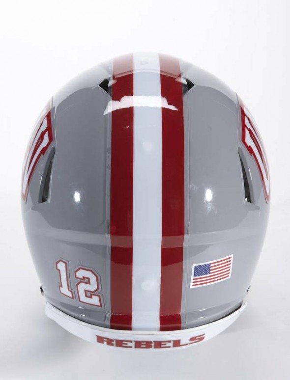UNLV Rebels NCAA Football new helmets - new helmet 2012 back with stripe