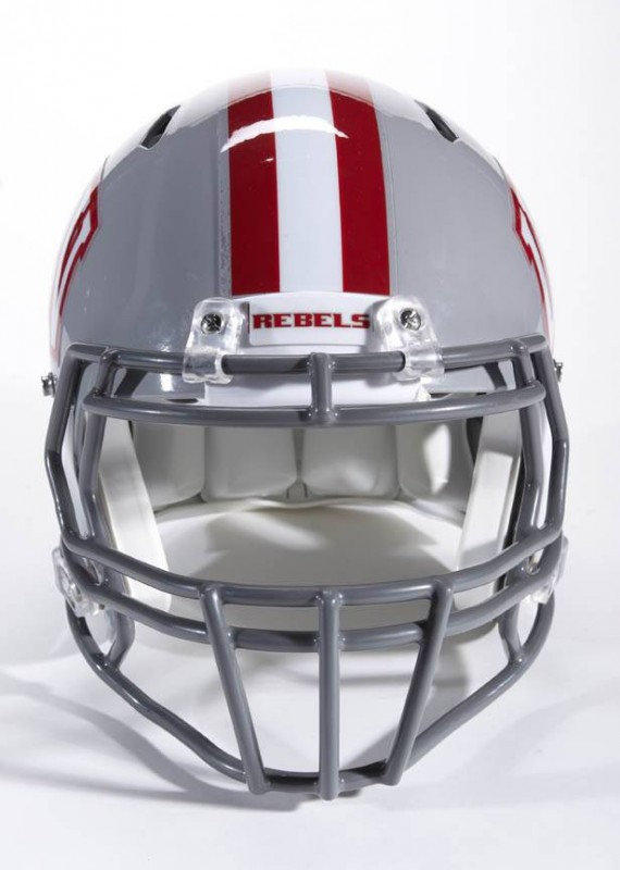 UNLV Rebels NCAA Football new helmets - new helmet 2012 front with stripe