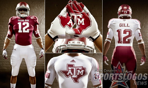 Texas A&M Aggies new jerseys uniform Adidas display