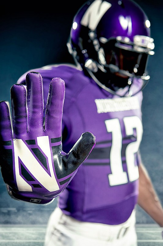 northwestern university new uniforms uni under armour wildcats purple gloves