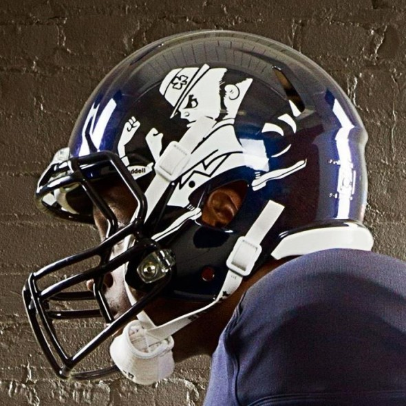 Notre Dame Shamrock Series new uniforms helmet blue side