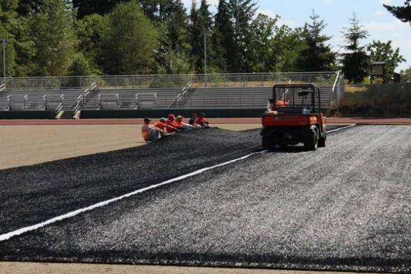West Salem Oregon High School Titans black field turf - install