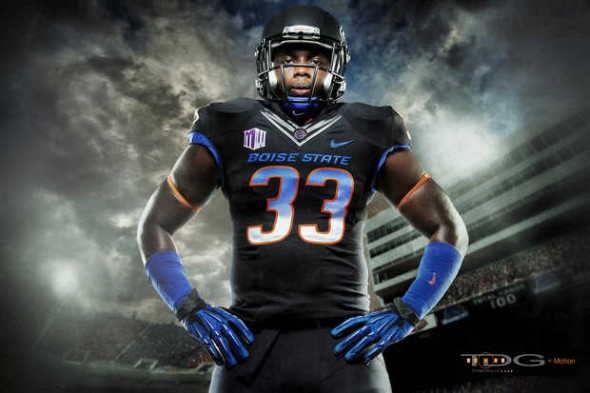 Boise State black black-out nike broncos - faded blue