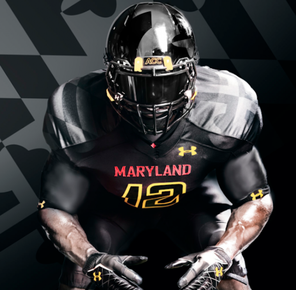 Under Armour Black Ops Maryland Terrapins uniform jersey alt - shoulders