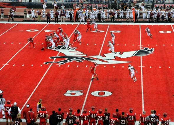 Eastern Washington Eagles red turf at Roos Field in Cheney, Washington Oregon ducks green NCAA Football Rules Committee proposal uniform