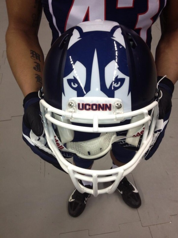 helmet detail - UConn University of Connecticut new logo uniforms