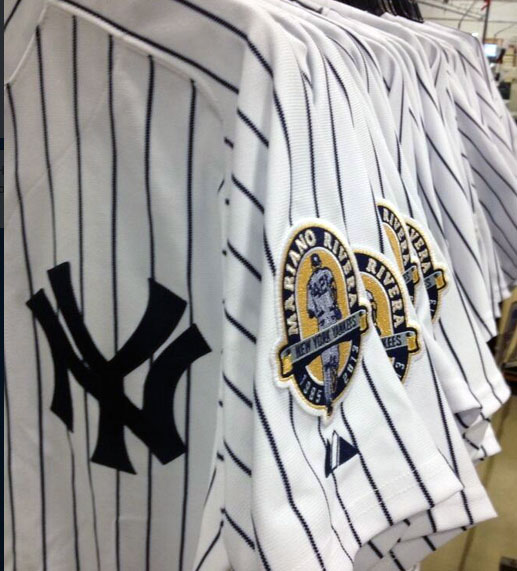 The New York Yankees are wearing Mariano Rivera patches on their jerseys ... 0bbdec7b018