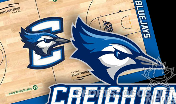 creighton new logo new basketball court design ncaa college big east blue jays