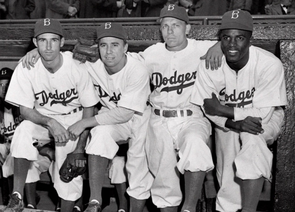 The Dodgers in the late 1940s, uniforms very similar to what they still wear
