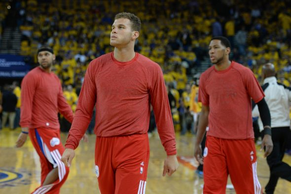 Clippers players warm-up with shirts turned inside-out in protest of team owner Donald Sterling in 2014 (Photo © Kyle Terada-USA TODAY Sports)