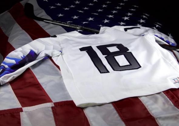 USA Olympic Hockey Jersey 2018 Back