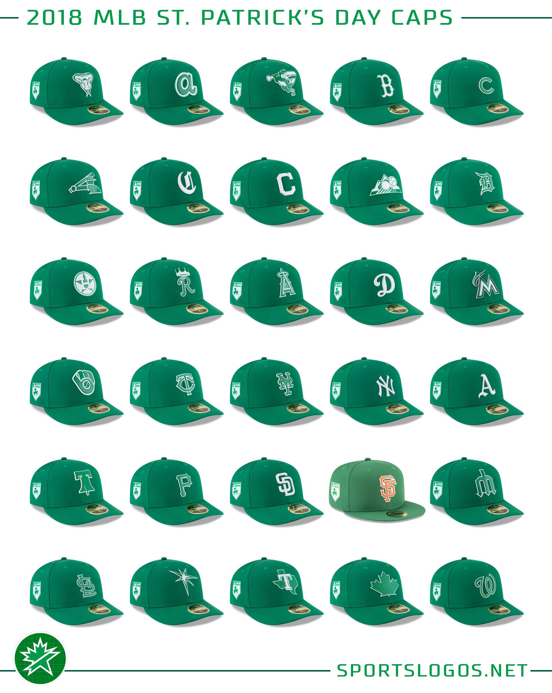 01a99e859 2018 MLB St Patrick s Day Team Caps
