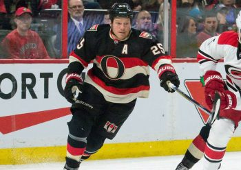 "Chris Neil wearing the ""O"" logo on an alternate uniform in 2016 (Photo: © Marc DesRosiers-USA TODAY Sports)"