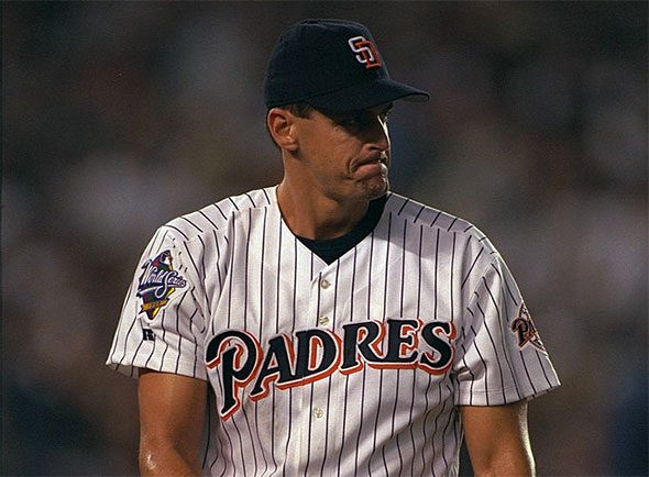 Kevin Brown during Game Four of the 1998 World Series, the only game the Padres wore this uniform in the Fall Classic