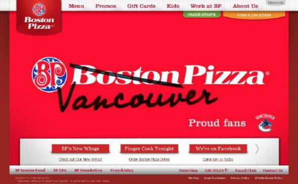 Vancouver Pizza Boston Pizza Change 2011