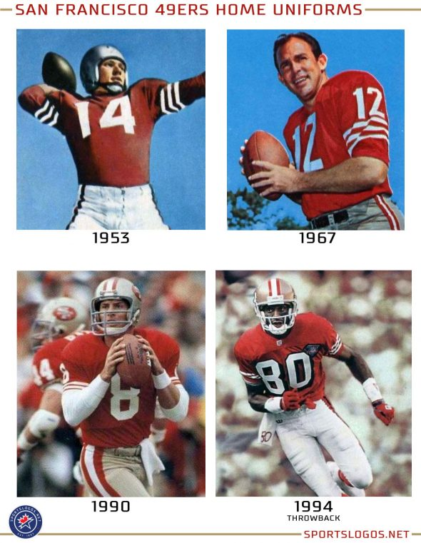 A collection of *some* of the 49ers home uniforms over the years